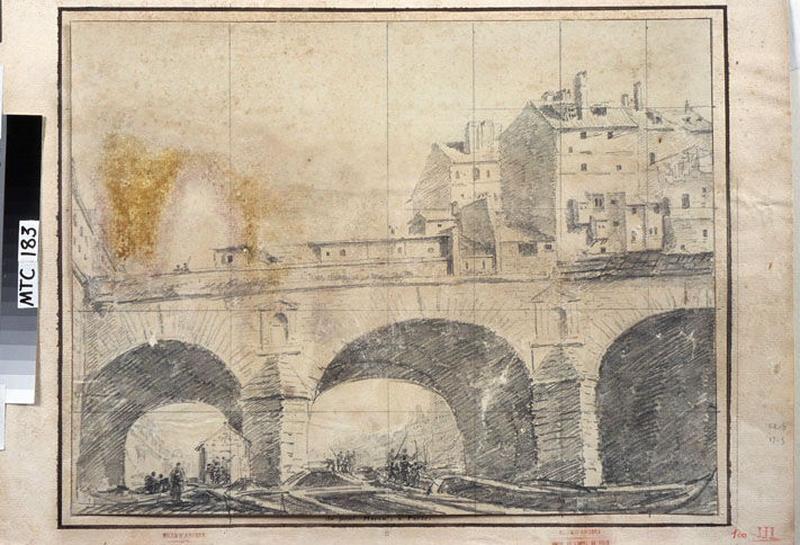 TURPIN DE CRISSE Lancelot Henri Roland, TURPIN DE CRISSE Père (?, dessinateur), TURPIN DE CRISSE Lancelot Théodore Comte de (?, dessinateur) : Paris, vue du Pont Marie, Du pont Marie à Poitiers (titre donné par Jouin)