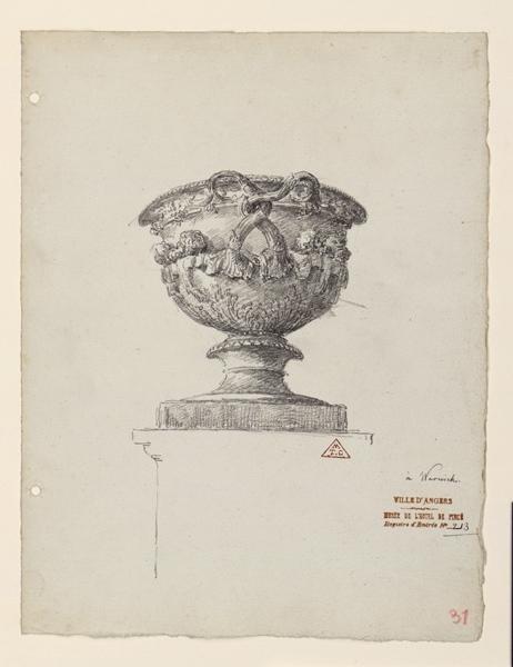 Vase antique (provenant de la villa d'Hadrien à Tivoli) dans les jardins du comte de Warwick (Tivoli) ; Vase à Warwick (Tivoli) dans les jardins du comte de Warwick_0