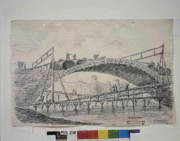 TURPIN DE CRISSE Lancelot Henri Roland, TURPIN DE CRISSE Père (dessinateur) : Le pont du château à Warwick, Warwick