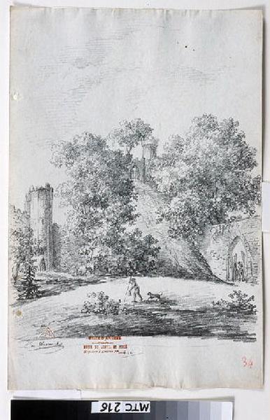 TURPIN DE CRISSE Lancelot Henri Roland, TURPIN DE CRISSE Père (dessinateur) : Les jardins du château de Warwick, Warwick
