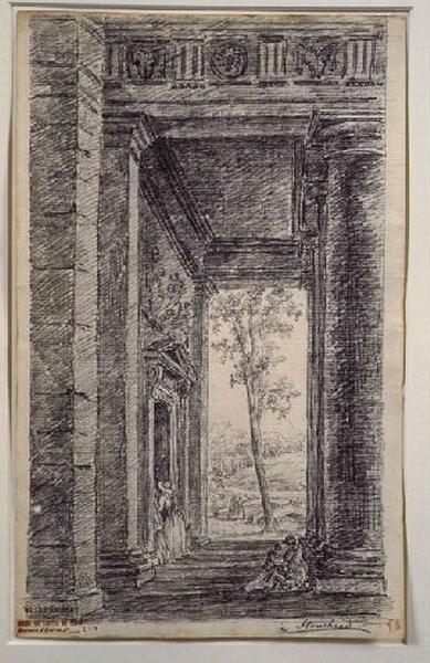 TURPIN DE CRISSE Lancelot Henri Roland, TURPIN DE CRISSE Père (dessinateur) : Les jardins de Stourhead, Stourhead (portique)