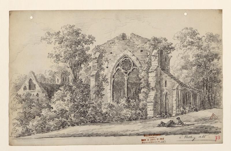 TURPIN DE CRISSE Lancelot Henri Roland, TURPIN DE CRISSE Père (dessinateur) : Vue des ruines de l'abbaye de Netley, A Netley Abbaye