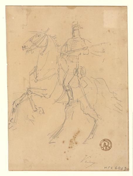 VOIRIN Jules Antoine (dessinateur) : Etude de cavalier