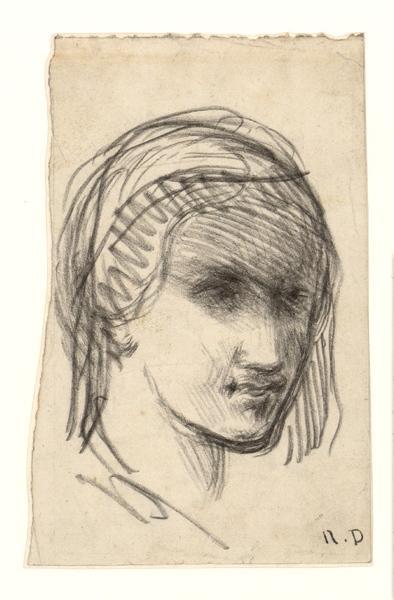R D (dessinateur), anonyme : Tête de femme