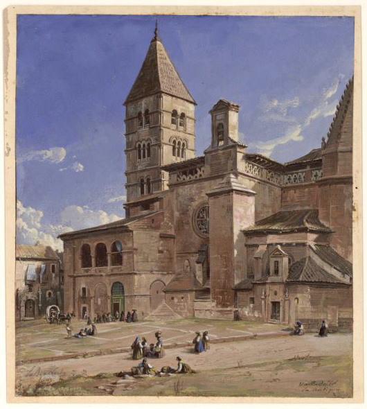 Valladolid, vue d'une place avec la cathédrale ; Valladolid,la antigua_0
