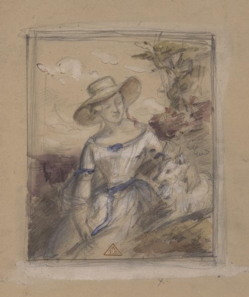 Portrait de femme (Projet d'un portrait en plein air (madame et son chien))_0