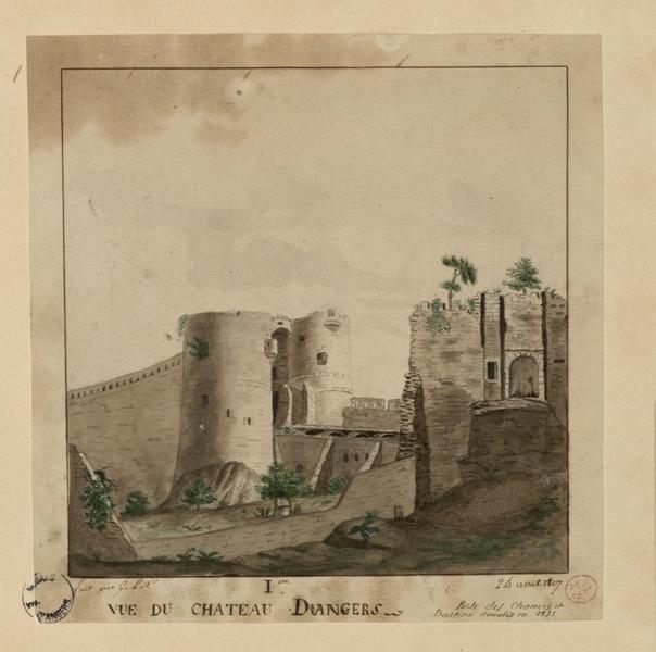 G L N (dessinateur) : Première vue du château d'Angers