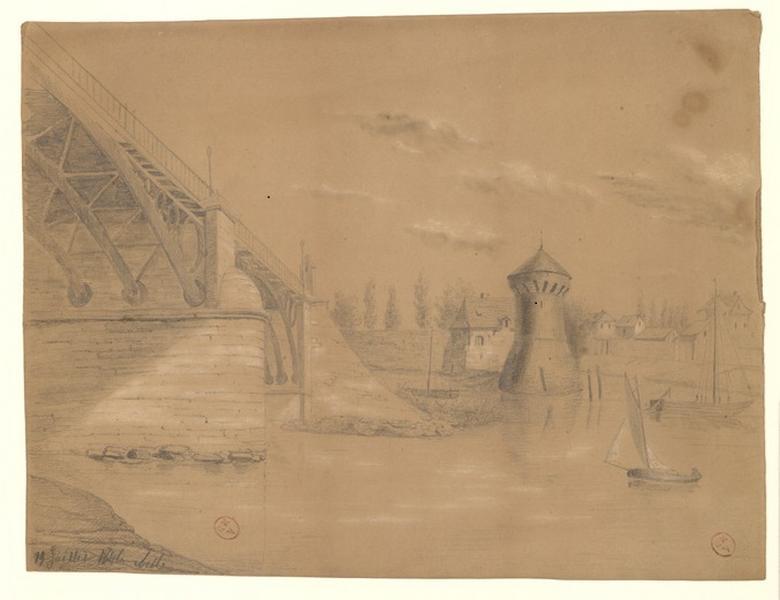 MICHEL Auguste Père (dessinateur) : Pont de fer de la Haute-Chaîne et tour Salvert depuis la rive gauche (Titre de C. Labalte)