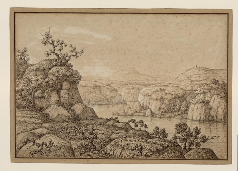 AUBIN DE NARBONNE Henri (dessinateur, peintre) : Paysage d'Italie
