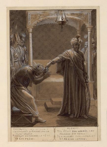 GIRODET DE ROUCY-TRIOSON Anne Louis (dessinateur, peintre) : Etude pour Ossian, Etude pour Les ombres des héros français reçus par Ossian dans le paradis d'Odin