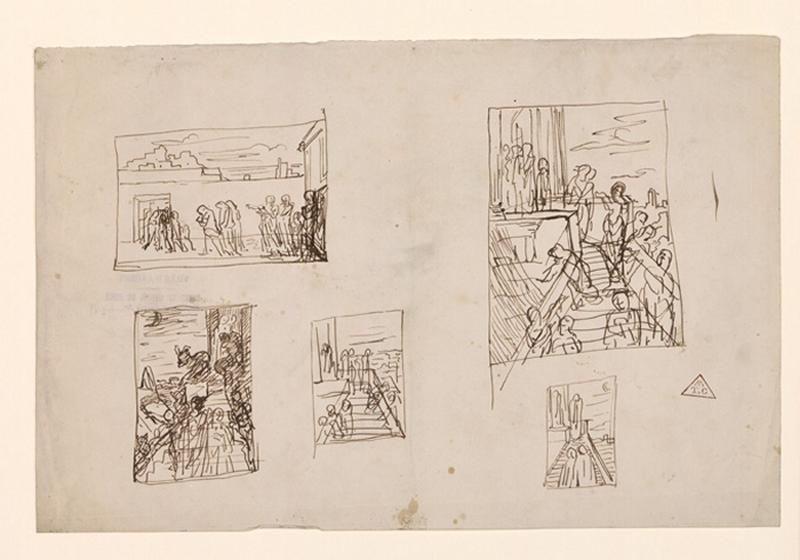 BRUNCLAIR Eugène (dessinateur, peintre) : Recherche pour des compositions historiques