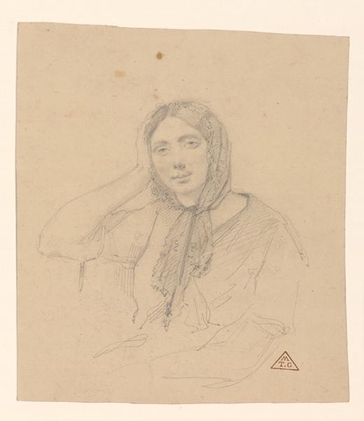 BRUNCLAIR Eugène (dessinateur, peintre) : Portrait de femme avec une mantille
