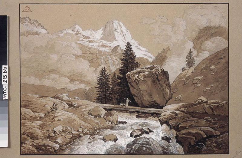 MEURON Maximilien de (dessinateur, peintre) : Torrent dans les Alpes, Torrent dans la montagne (autre titre), Vue de Suisse (autre titre)