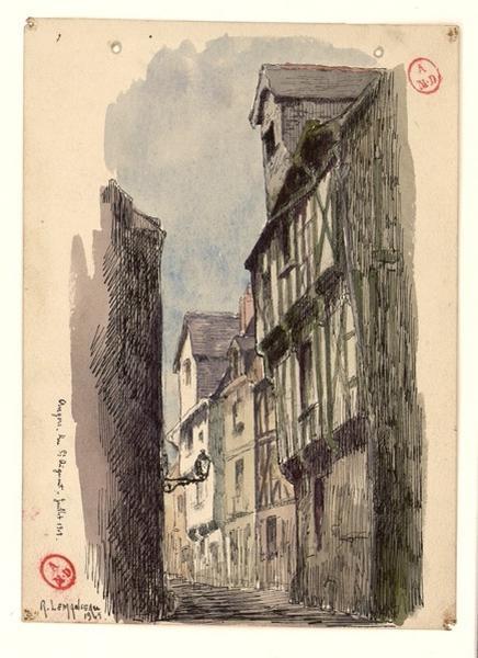 LEMANCEAU Louis (dessinateur, peintre) : Angers, rue Saint-Aignan