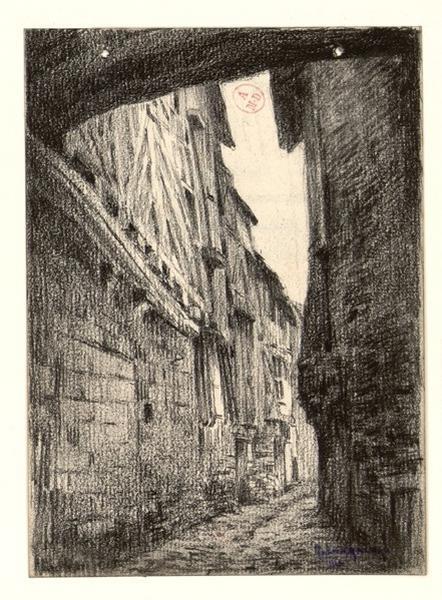 LEMANCEAU Louis (dessinateur, peintre) : Angers, rue Mauvaise