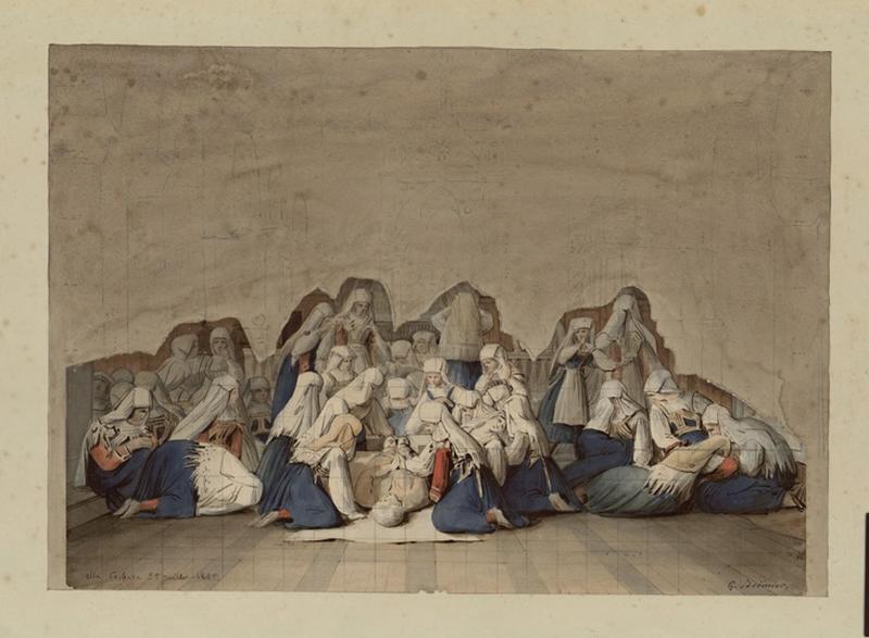 Femmes pleurant un mort ; Alla Cerbara (titre Recouvreur)