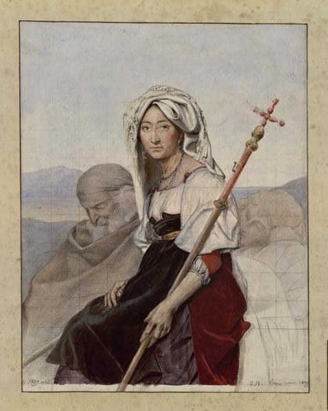 BODINIER Guillaume (peintre, dessinateur) : Paysanne italienne à la houlette (?)