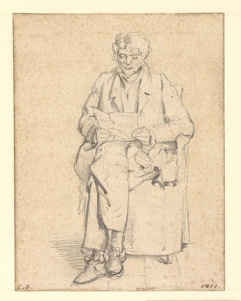 BODINIER Guillaume (dessinateur) : Portrait de Guillaume Joseph Bodinier, père du peintre, Portrait du père de l'artiste