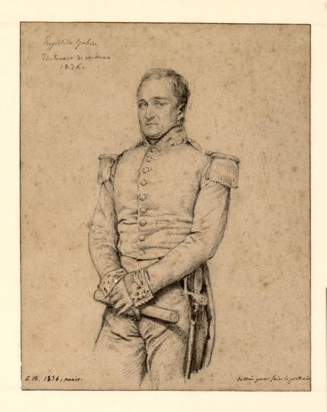 BODINIER Guillaume (dessinateur, peintre) : Portrait d'Hippolyte Jubin en lieutenant de vaisseau