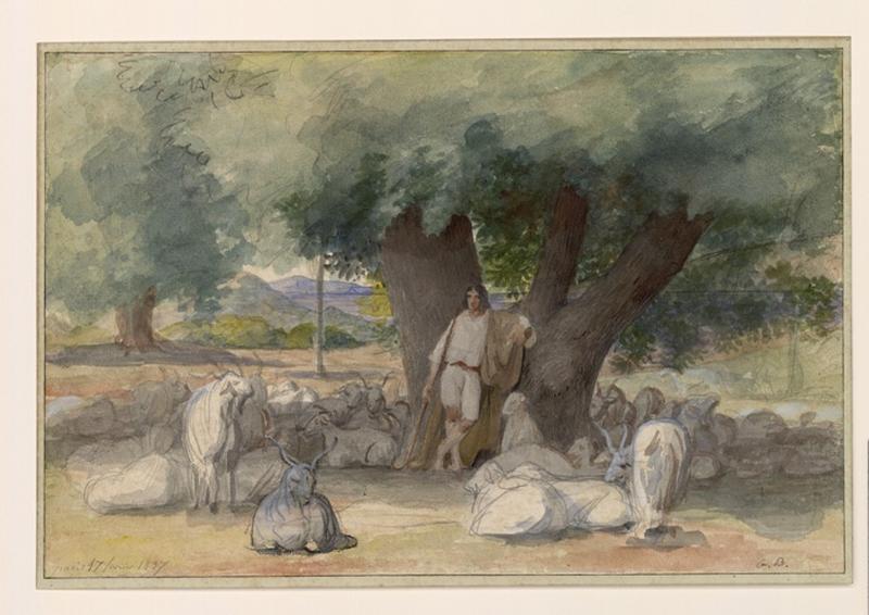 BODINIER Guillaume (dessinateur) : Berger se reposant au pied d'un arbre