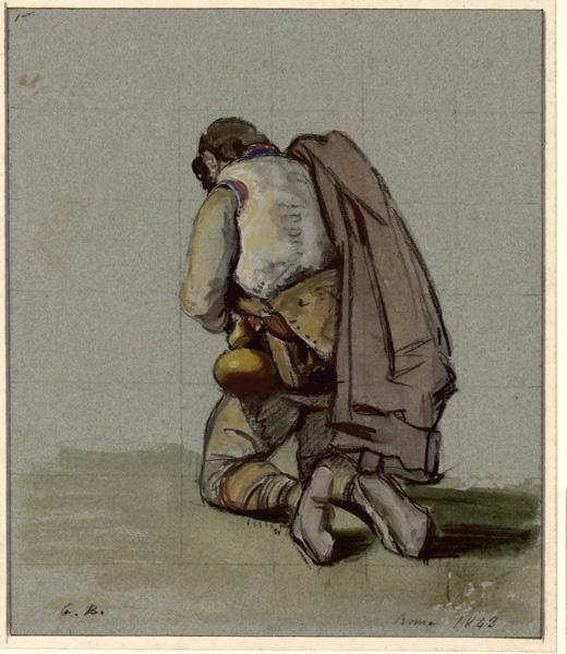 BODINIER Guillaume (dessinateur) : Berger de dos agenouillé