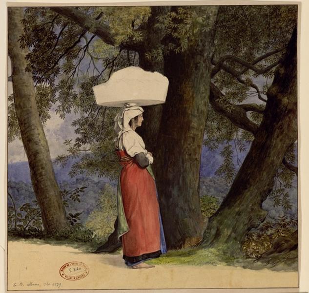 BODINIER Guillaume (dessinateur) : Vieille italiennne dans un paysage