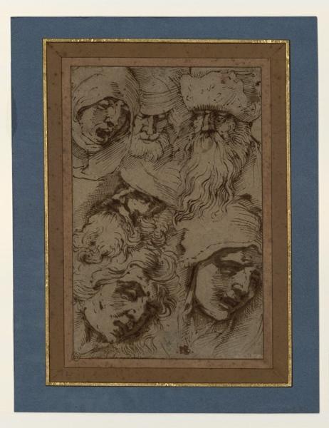 GHEYN Jacob II de  (dessinateur), BANDINELLI Baccio (dessinateur), DURER Albrecht (d'après), anonyme : Etude de six têtes d'après Dürer