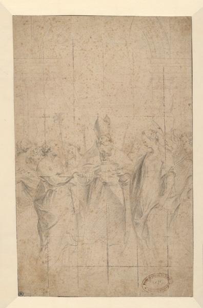 Le mariage de la Vierge ; Le mariage mystique de la Vierge ; Un Evêque de face, un homme à sa droite, une femme à sa gauche (ancien titre)