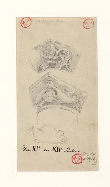Doué, chapiteaux de l'église Saint-Denis (verso) ; Blaison-Gohier, fenêtre du château (recto) ; Montreuil-Bellay, fresque du Jugement dernier (recto)_0