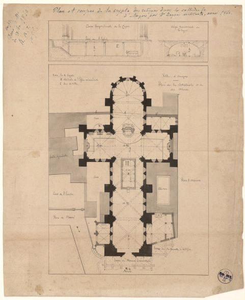 Plan et coupes de la crypte des évêques dans la cathédrale d'Angers par Mr Roques, architecte, année 1860_0