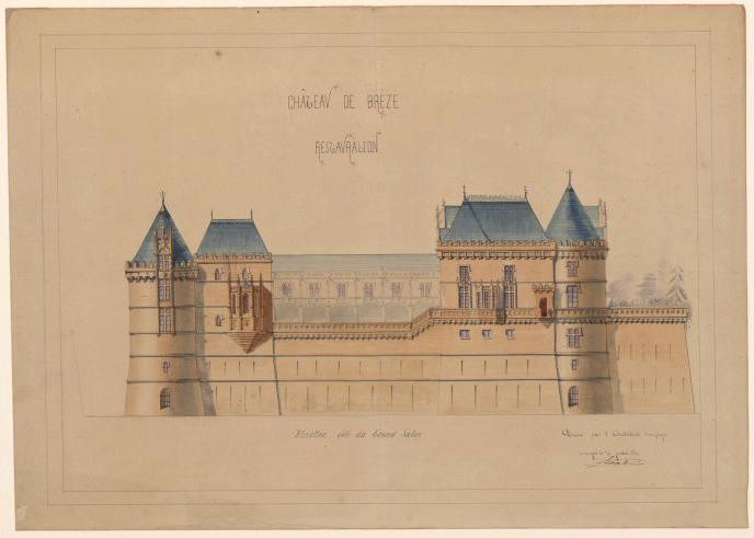Château de Brézé, restauration (élévation côté du grand salon)_0
