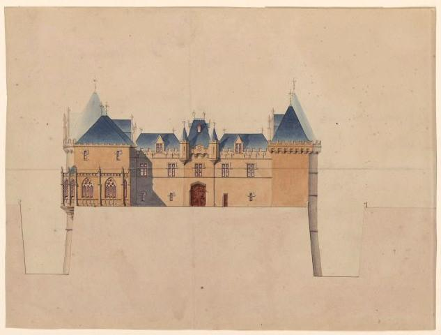 HODE René (dessinateur, architecte) : Château de Brézé, restauration