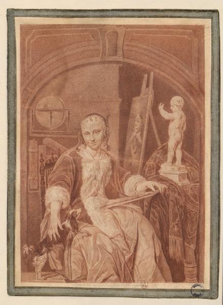 BEAUVARLET Catherine Françoise (dessinateur), DOU Gérard (d'après) : Jeune femme dans un atelier, Femme et son chien