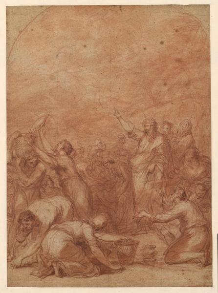 La Récolte de la Manne (recto) ; Moïse et la Manne (recto) ; Etude d'une tête et étude pour la Récolte de la Manne (verso)_0