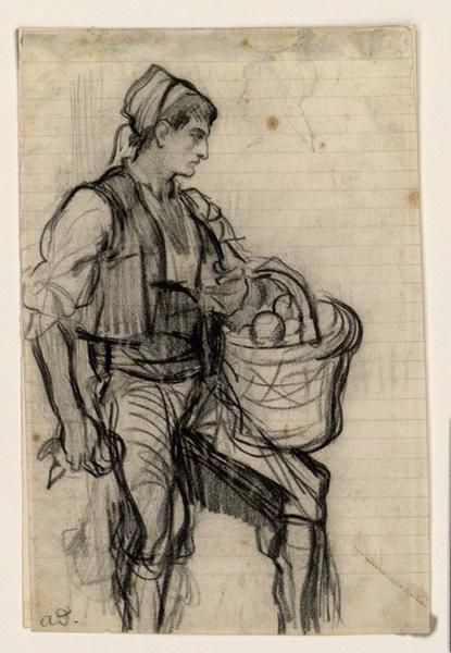 Jeune Espagnol portant un panier d'oranges