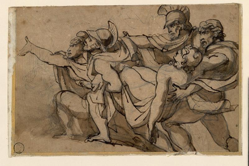 GERICAULT Théodore (dessinateur) : Oenone refusant de secourir Pâris blessé au siège de Troie, Paris et Onenone, Quatre soldats romains emportant un cadavre (autre titre)