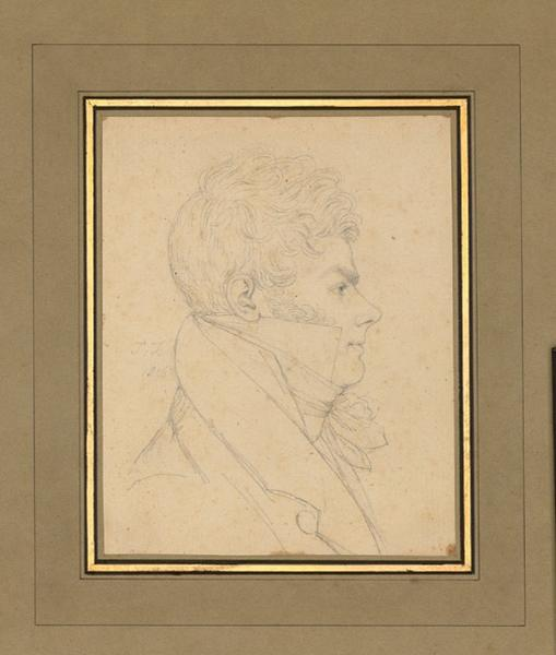 ISABEY Jean-Baptiste (dessinateur) : Portrait de Singry, élève du maître, miniaturiste