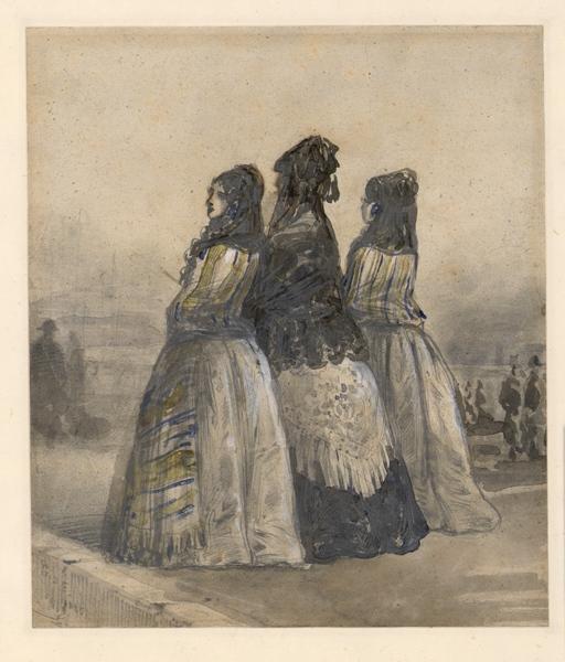 Trois dames espagnoles en promenade ; Deux jeunes filles, accompagnées de leur mère ; Deux jeunes filles, accompagnées de leur mère, s'en vont à la promenade. Elles portent des mantilles et des écharpes (autre titre)