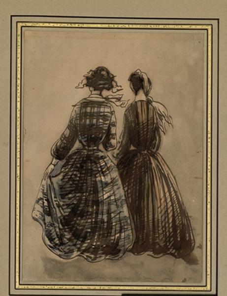 GUYS Constantin (dessinateur) : Deux ouvrières en promenade, vues de dos