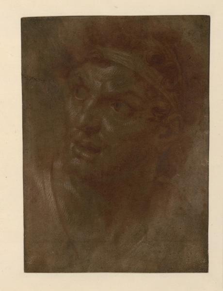 Etude pour une figure des batailles d'Alexandre (Ancien titre) ; Tête semblant exprimer l'admiration (D'après K. Sauvignon)