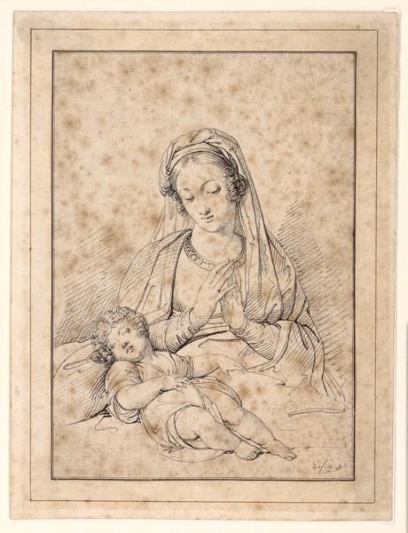 LAFFITTE Louis (peintre), LA FOSSE Charles de (dessinateur) : Vierge en adoration devant l'enfant Jésus