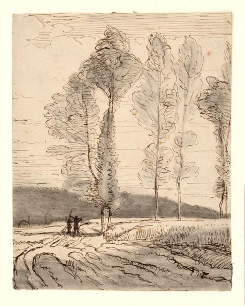 Un chemin dans la plaine avec deux faucheurs de dos