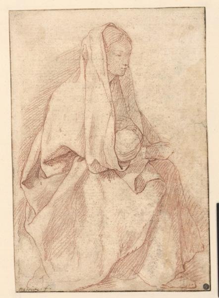 NATOIRE Charles Joseph (dessinateur) : Vierge à l'Enfant