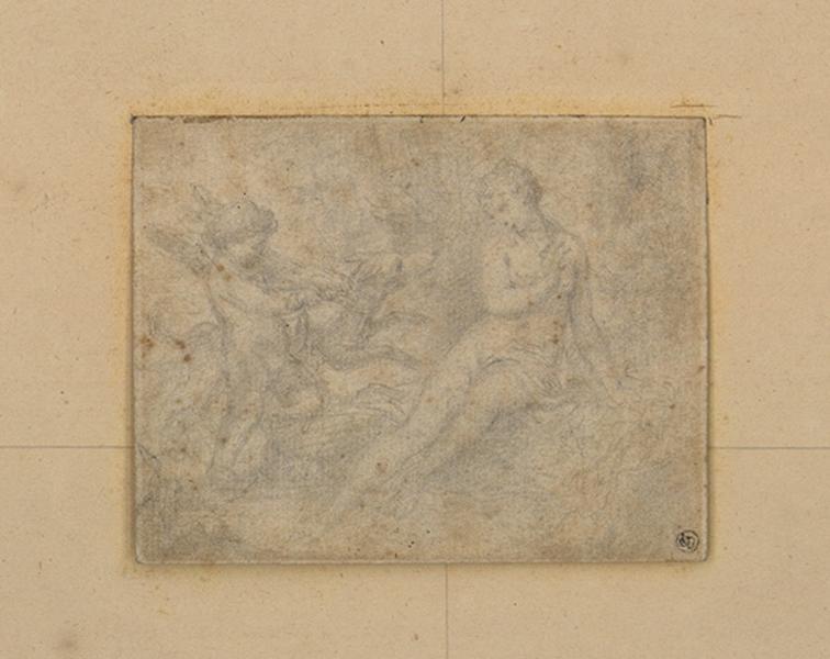 MENGS Anton Raphaël (dessinateur) : Femme nue, chien et amour