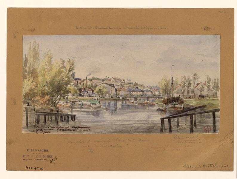 HASTREL Ludovic d' (dessinateur) : Pont sur l'Oise (Titre dans mémoire de Lesschaeve : Pontoise 1861. Le nouveau pont en fer du chemin de fer de Dieppe, par Gisors et vue prise du chemin de l'Ecluse Saint-Martin)