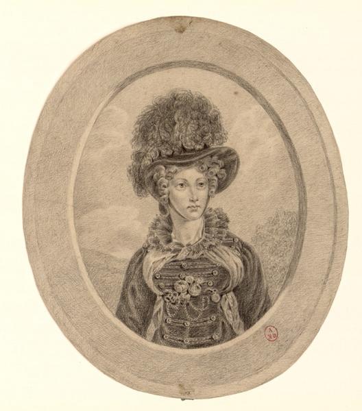 anonyme : Portrait de femme vêtue d'un costume à brandebourg