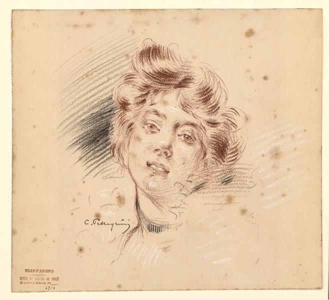 PELLEGRIN Louis Antonin Victor (dessinateur) : Tête de femme