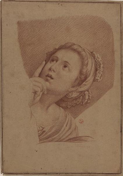 LE PRINCE Jean-Baptiste (dessinateur) : Tête de femme