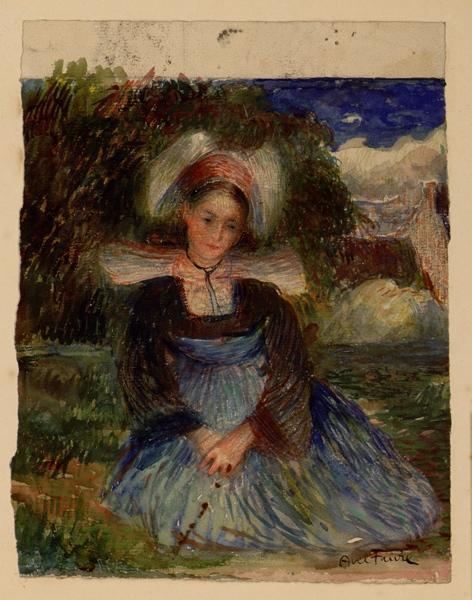 FAURE Jules Abel (dessinateur) : Bretonne agenouillée de face