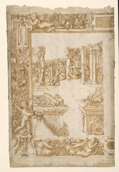 anonyme, SALVIATI (d'après, dit), FRANCESCO DE ROSSI (dessinateur) : Bordures fragments du XVIè siècle, Composition décorative (autre titre)